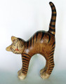 WOODEN STRETCHING CAT SCULPTURE