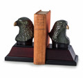 MAJESTIC EAGLE BOOKENDS - CAST METAL EAGLE BOOKENDS ON WOOD BASES