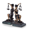 """KNEELING LADY JUSTICE"" BRONZE & MARBLE BOOKENDS - LAWYER & LEGAL"