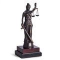 BLINDFOLDED LADY JUSTICE SCULPTURE ON WOOD BASE - LAWYERS & LEGAL