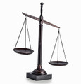 "SCALES OF JUSTICE SCULPTURE ON MARBLE BASE - 16""H"