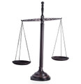 "SCALES OF JUSTICE SCULPTURE ON WOODEN BASE - 21.5""H"