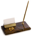 SCALES OF JUSTICE MARBLE PEN STAND WITH BUSINESS CARD HOLDER - LEGAL & LAWYERS