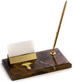 CADUCEUS MARBLE PEN STAND WITH BUSINESS CARD HOLDER - MEDICAL PROFESSION