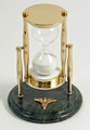 """SANDS OF TIME"" 30-MINUTE HOURGLASS SAND TIMER ON MARBLE BASE WITH DENTISTRY EMBLEM - DENTAL"