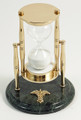 """SANDS OF TIME"" 30-MINUTE HOURGLASS SAND TIMER ON MARBLE BASE WITH MEDICAL CADUCEUS EMBLEM"