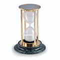 """SANDS OF TIME"" 15-MINUTE HOURGLASS SAND TIMER ON MARBLE BASE - BRASS"