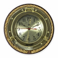 BRASS PORTHOLE WALL CLOCK WITH FISHERMANS ROPE TRIM ON WOOD BASE - NAUTICAL DECOR
