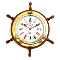 SHIPS WHEEL BRASS PORTHOLE WALL CLOCK WITH SIGNAL FLAGS DIAL FACE - NAUTICAL DECOR