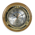 BRASS PORTHOLE TIDE AND TIME WALL CLOCK ON OAK WOOD BASE - NAUTICAL DECOR