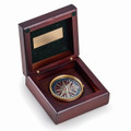 BRASS COMPASS IN MAHOGANY FINISHED HINGED WOODEN BOX
