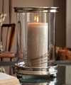 NOB HILL CYLINDER HURRICANE PILLAR CANDLE HOLDER - NICKEL PATINA