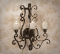 """SUNSET BOULEVARD"" 3-LIGHT ACANTHUS LEAF CANDLE WALL SCONCE WITH GLASS HURRICANE SHADES"