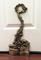 """GROSVENOR SQUARE"" ANTIQUE BRASS SCROLL DOOR STOP - DOOR STOPPER"