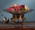 WELLINGTON MANOR CRYSTAL CENTERPIECE BOWL ON ANTIQUE BRASS FOOTED STAND