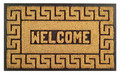"GREEK KEY RUBBER BACK COIR WELCOME MAT - 18"" x 30"" - DOORMAT"