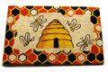 "BEEHIVE STENCILED COIR DOORMAT - 18"" x 30"" - HONEY BEE DOOR MAT - WELCOME MAT"