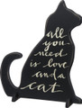 """PURRFECT LOVE"" FREESTANDING CAT SHAPE WOOD SIGN"