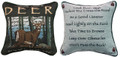 """ADVICE FROM A DEER"" REVERSIBLE TAPESTRY THROW PILLOW - 12.5"" SQUARE - LODGE DECOR"