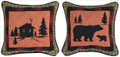 """""""WILDERNESS RETREAT"""" REVERSIBLE TAPESTRY THROW PILLOW - 12.5"""" SQUARE"""