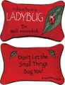 """ADVICE FROM A LADYBUG"" REVERSIBLE THROW PILLOW - 12.5"" X 8.5"" - GIFTS FOR NATURE LOVERS"