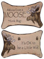 """ADVICE FROM A MOOSE"" REVERSIBLE THROW PILLOW - 12.5"" x 8.5"" - LODGE DECOR"