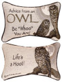 """ADVICE FROM AN OWL"" REVERSIBLE THROW PILLOW - 12.5"" x 8.5"" - LODGE DECOR"
