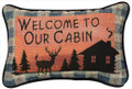 """WELCOME TO OUR CABIN"" THROW PILLOW - 12.5""L x 8.5""H"