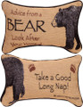 """ADVICE FROM A BEAR"" REVERSIBLE THROW PILLOWS - 12.5"" X 8.5"" - LODGE DECOR"