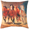 "WILD STALLIONS INDOOR OUTDOOR PILLOW - 18"" SQUARE - HORSE PILLOW"