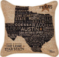 """DON'T MESS WITH TEXAS"" TAPESTRY THROW PILLOW - 17"" SQUARE - LONE STAR STATE PILLOW"