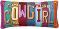 "COWGIRL VANITY LICENSE PLATE PILLOW - 17""L x 9""H"