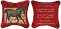 """ADVICE FROM A HORSE"" REVERSIBLE TAPESTRY THROW PILLOW - 12.5"" SQUARE - EQUESTRIAN DECOR"