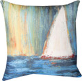 """SET SAIL"" INDOOR OUTDOOR SAILBOAT THROW PILLOW - 18"" SQUARE - NAUTICAL DECOR"
