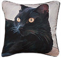 "BLACK CAT THROW PILLOW - 18"" SQUARE"