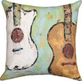 """DUELING GUITARS"" INDOOR OUTDOOR THROW PILLOW  - 18"" SQUARE - MUSICAL INSTRUMENTS"