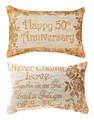 """HAPPY 50TH ANNIVERSARY"" PILLOW - REVERSIBLE PILLOW - GOLDEN ANNIVERSARY GIFT"