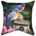 "BLUEBIRD FAMILY INDOOR OUTDOOR THROW PILLOW - 18"" SQUARE"