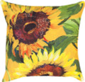 """SUNFLOWER GARDEN"" INDOOR OUTDOOR THROW PILLOW - 18"" SQUARE  - FLORAL DECOR"