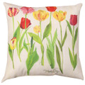 """TULIP GARDEN"" INDOOR OUTDOOR PILLOW - 18"" SQUARE -  FLORAL DECOR - TULIPS"