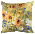 "OXFORD GARDEN' FLORAL PILLOW - 18"" SQUARE - SUNFLOWER PILLOW"