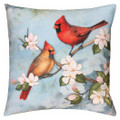 "CARDINAL & FLOWER BLOSSOMS PILLOW - 18"" SQUARE - INDOOR OUTDOOR PILLOW"