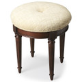 BROOKFIELD VANITY SEAT - UPHOLSTERED STOOL - CHERRY FINISH - FREE SHIPPING*