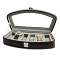BLACK LEATHER WATCH CASE WITH GLASS TOP - WATCH BOX - HOLDS SIX WATCHES