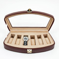 BROWN LEATHER WATCH CASE WITH GLASS TOP - WATCH BOX - HOLDS SIX WATCHES