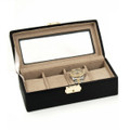 BLACK LEATHER WATCH BOX WITH GLASS TOP - FOUR WATCH CASE