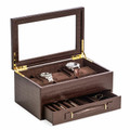 """EXETER"" FIVE WATCH BROWN ""CROCO"" LEATHER WATCH BOX WITH GLASS TOP - WATCH CASE"