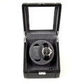 TWO WATCH WINDER IN BLACK LEATHER GLASS TOP CASE