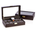 """SHEFFIELD"" TEN WATCH BROWN LEATHER WATCH BOX WITH GLASS LID - WATCH CASE - MENS GIFTS"