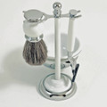 """HYDE PARK"" SHAVING SET : ""MACH 3"" RAZOR, BRUSH AND SOAP DISH ON CHROME PLATED WHITE ENAMEL FINISH BASE"